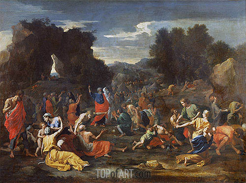 Israelites Gathering Manna in the Desert, c.1637/39 | Nicolas Poussin| Painting Reproduction