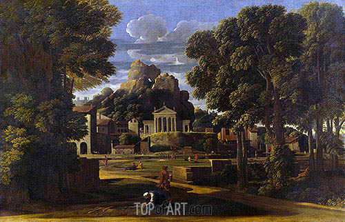 Landscape with the Gathering of the Ashes of Phocion, 1648 | Nicolas Poussin | Painting Reproduction
