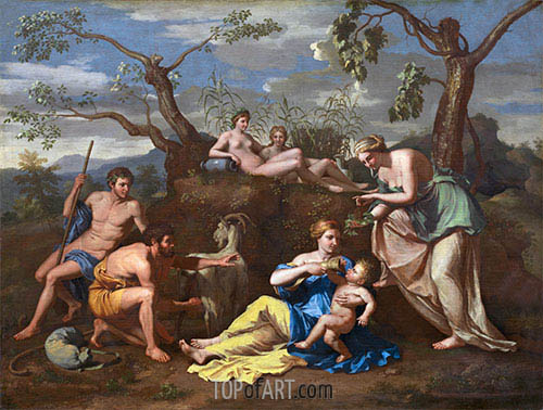 Nymphs Feeding the Child Jupiter, c.1650 | Nicolas Poussin| Painting Reproduction