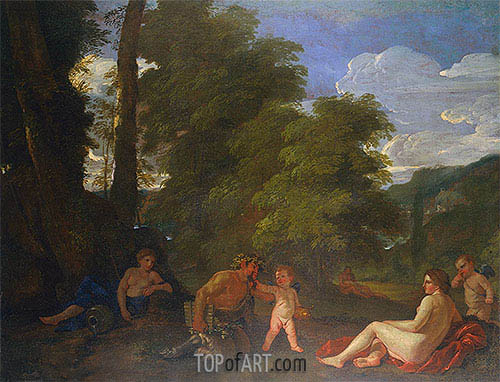 Nymphs and a Satyr (Amor Vincit Omnia), 1625 | Nicolas Poussin | Gemälde Reproduktion