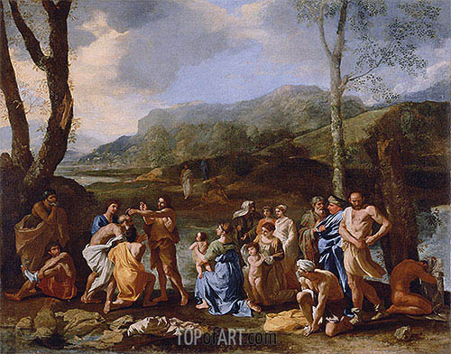 Saint John Baptizing in the River Jordan, c.1630 | Nicolas Poussin | Painting Reproduction