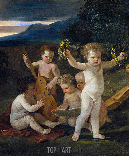 Concert of Cupids, c.1626/27 | Nicolas Poussin| Painting Reproduction