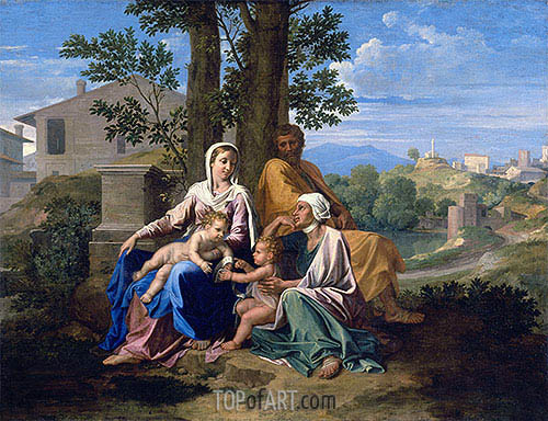 The Holy Family with Saint John and Saint Elizabeth in a Landscape, c.1650 | Nicolas Poussin| Painting Reproduction