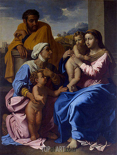 Holy Family with St Elizabeth and John the Baptist, c.1644/55 | Nicolas Poussin | Gemälde Reproduktion