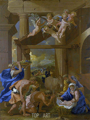 The Adoration of the Shepherds, c.1633/34 | Nicolas Poussin| Gemälde Reproduktion