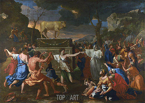 The Adoration of the Golden Calf, c.1633/34 | Nicolas Poussin| Gemälde Reproduktion