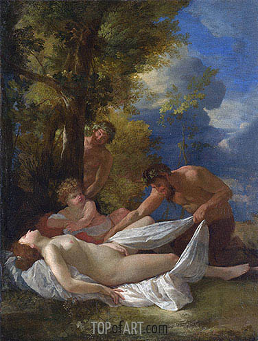 Nymph with Satyrs, c.1627 | Nicolas Poussin | Painting Reproduction