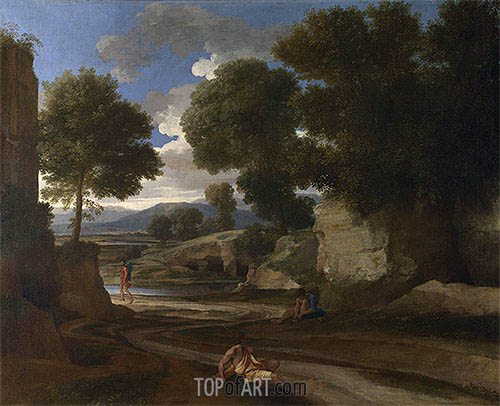 Landscape with Travellers Resting, c.1638/39 | Nicolas Poussin | Painting Reproduction