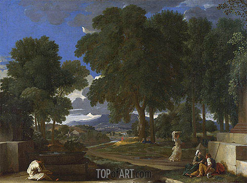 Landscape with a Man washing his Feet at a Fountain, c.1648 | Nicolas Poussin| Painting Reproduction