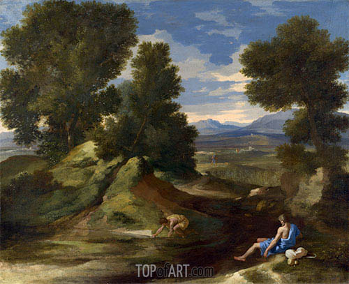Landscape with a Man Scooping Water from a Stream, c.1637 | Nicolas Poussin | Gemälde Reproduktion