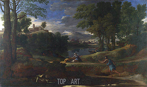 Landscape with a Man killed by a Snake, c.1648 | Nicolas Poussin | Painting Reproduction
