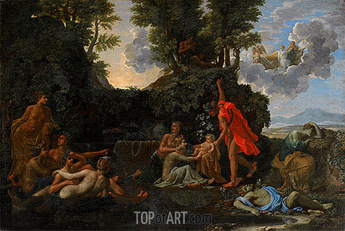 The Infant Bacchus Entrusted to the Nymphs of Nysa, 1657 | Nicolas Poussin | Painting Reproduction