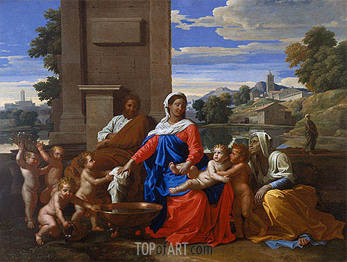 The Holy Family with the Infant Saint John the Baptist and Saint Elizabeth, c.1650/51 | Nicolas Poussin | Gemälde Reproduktion