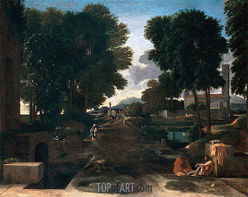 A Roman Road (Landscape with Travelers Resting), 1648 | Nicolas Poussin| Painting Reproduction