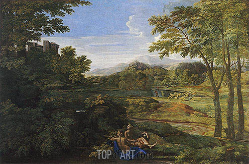 Landscape with Two Nymphs and a Snake, c.1659 | Nicolas Poussin| Gemälde Reproduktion
