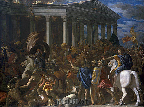 The Destruction and Sack of the Temple of Jerusalem, c.1625/26 | Nicolas Poussin| Painting Reproduction
