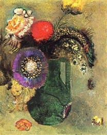 Flowers in Green Vase with Handles, c.1905 by Odilon Redon | Painting Reproduction