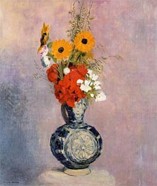 Bouquet of Flowers in a Blue Vase, Undated by Odilon Redon | Painting Reproduction