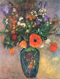 Bouquet of Flowers in a Vase, Undated by Odilon Redon | Painting Reproduction