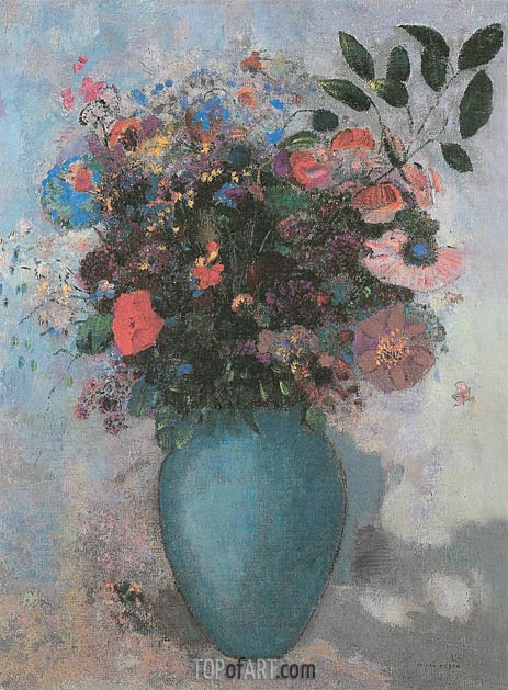 Flowers in a Turquoise Vase, 1910 | Odilon Redon | Painting Reproduction