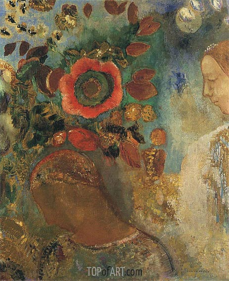 Two Young Girls among the Flowers, 1912 | Odilon Redon | Gemälde Reproduktion