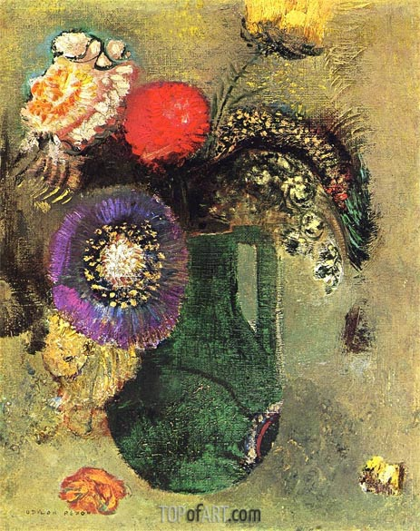 Flowers in Green Vase with Handles, c.1905 | Odilon Redon | Painting Reproduction