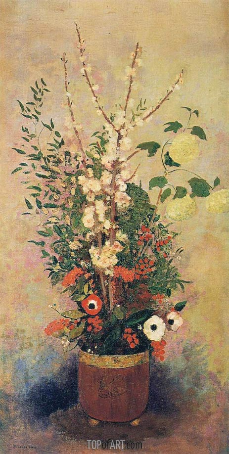 Odilon Redon | Vase of Flowers with Branches of a Flowering Apple, c.1905/06