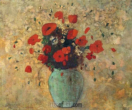 Vase of Poppies, c.1905/09 | Odilon Redon | Painting Reproduction