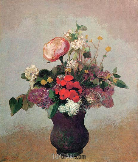 Flowers in a Brown Vase, c.1903/05 | Odilon Redon | Painting Reproduction
