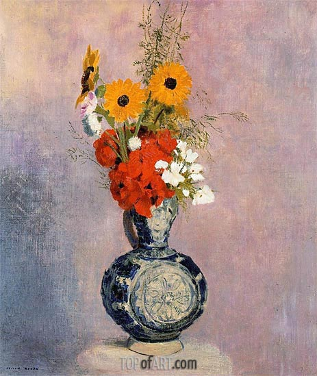 Bouquet of Flowers in a Blue Vase, Undated | Odilon Redon | Painting Reproduction