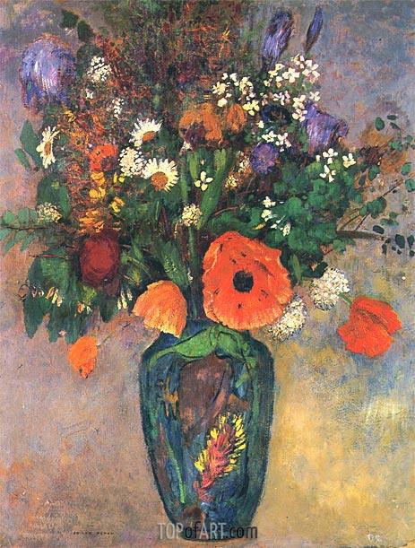 Bouquet of Flowers in a Vase, Undated | Odilon Redon | Painting Reproduction
