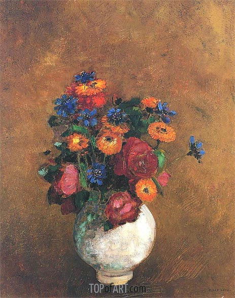 Odilon Redon | Bouquet of Flowers in a White Vase, Undated