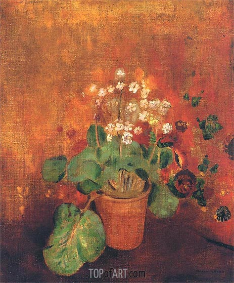 Odilon Redon | Flowers in a Pot on a Red Background, Undated