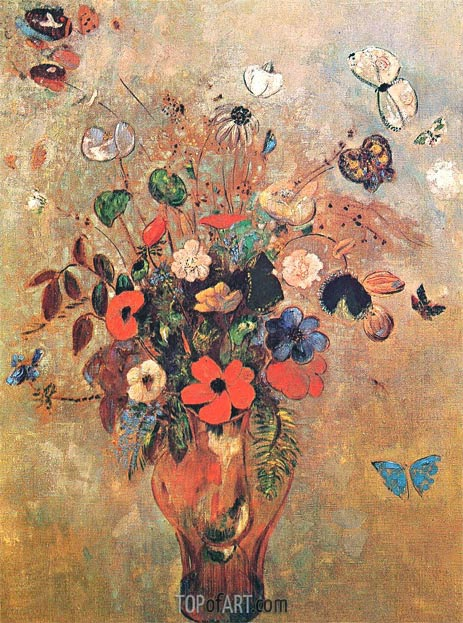 Vase with Flowers and Butterflys, Undated | Odilon Redon | Painting Reproduction