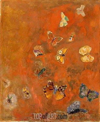Evocation of Butterflies, c.1910/12 | Odilon Redon | Gemälde Reproduktion