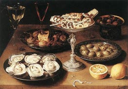 Still-Life with Oysters and Pastries, 1610 by Osias Beert | Painting Reproduction