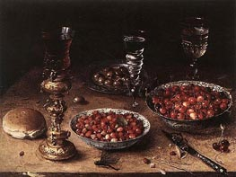 Still-Life with Cherries and Strawberries in China, 1608 by Osias Beert | Painting Reproduction