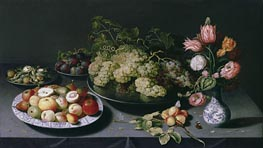 Still Life with Apples, Grapes and a Vase of Flowers | Osias Beert | outdated