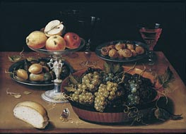 Grapes in a Dish, Apples in a Silver Tazza, Hazelnuts and Medlars on Pewter Plates, Glasses and Bread Roll on a Wooden Table | Osias Beert | outdated