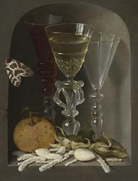 A Still Life of Three Wine Glasses, an Orange, Sweetmeats, Hazelnuts and a Moth in a Stone Niche, undated by Osias Beert | Painting Reproduction