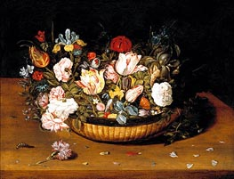 Basket of Flowers, c.1615 by Osias Beert | Painting Reproduction