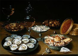 Dishes with Oysters, Fruit and Wine | Osias Beert | outdated