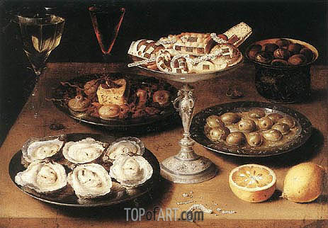 Still-Life with Oysters and Pastries, 1610 | Osias Beert| Painting Reproduction
