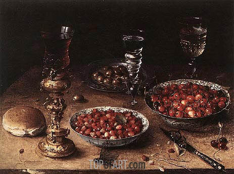 Still-Life with Cherries and Strawberries in China, 1608 | Osias Beert | Gemälde Reproduktion