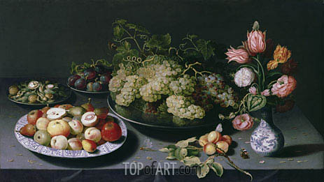 Still Life with Apples, Grapes and a Vase of Flowers, c.1600/20 | Osias Beert | Gemälde Reproduktion