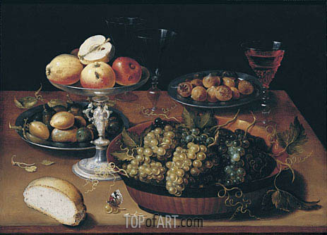 Grapes in a Dish, Apples in a Silver Tazza, Hazelnuts and Medlars on Pewter Plates, Glasses and Bread Roll on a Wooden Table, undated | Osias Beert | Painting Reproduction