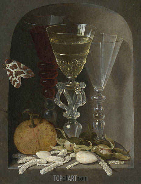 A Still Life of Three Wine Glasses, an Orange, Sweetmeats, Hazelnuts and a Moth in a Stone Niche, undated | Osias Beert| Painting Reproduction