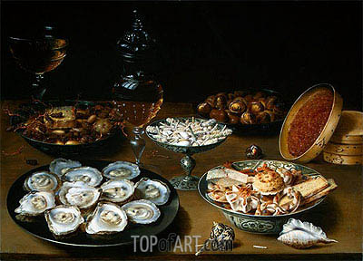 Dishes with Oysters, Fruit and Wine, c.1620/25 | Osias Beert| Painting Reproduction