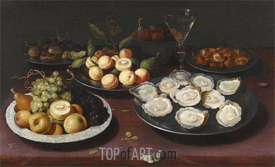 Still Life of Fruit and a Plate of Oysters,  | Osias Beert | Gemälde Reproduktion