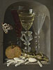 A Still Life of Three Wine Glasses, an Orange, Sweetmeats, Hazelnuts and a Moth in a Stone Niche | Osias Beert